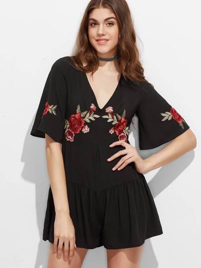 Black Embroidered Rose Applique Bell Sleeve Drop Waist Romper