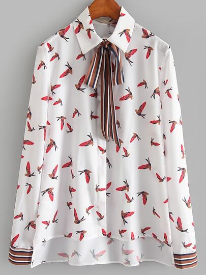 White Bird Print High Low Blouse With Striped Tie