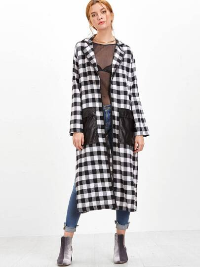 Black And White Checkered Slit Wrap Coat With Oversized Pocket