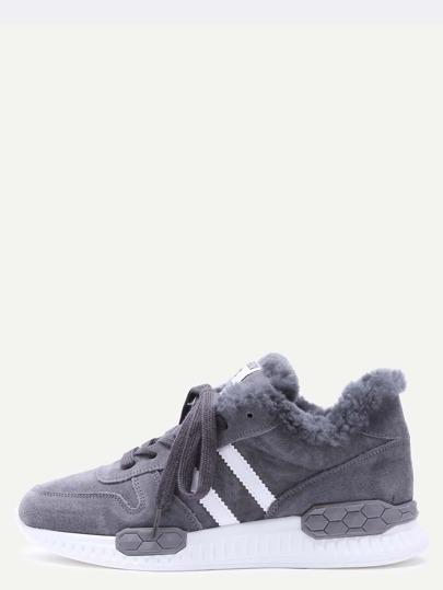 Chaussures à rayure détail en faux cuir élané -gris