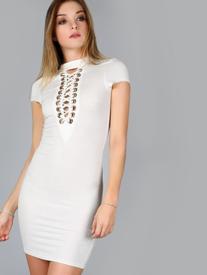 White Eyelet Lace Up V Neck Cap Sleeve Bodycon Dress