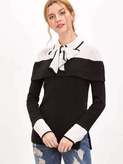 Black Contrast Tie Neck Shoulder And Cuff Foldover Top