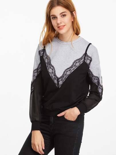 Sweat-shirt dentelle élancé pure sur manche 2 en 1 contrasté