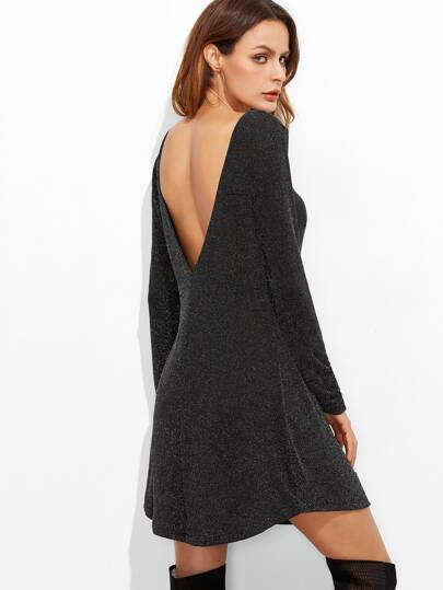 Black Boat Neck V Back Curved Hem Dress