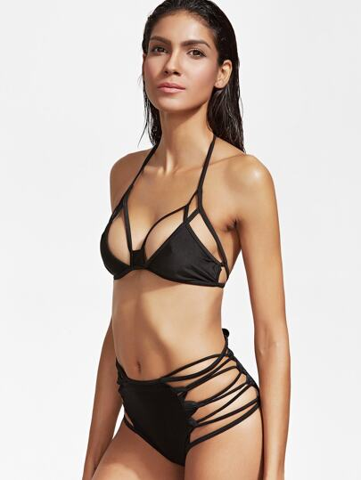 Black Cutout Lace Up High Waist Bikini Set