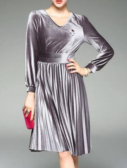 Grey V Neck Velvet Pleated A-Line Dress