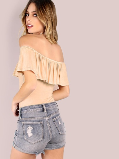 Apricot Off The Shoulder Ruffle Bodysuit