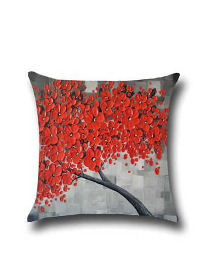 Red Flower Print Pillowcase Cover