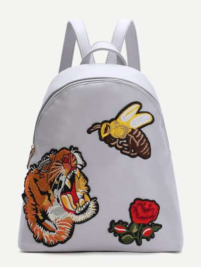 White Animal Embroidered PU Backpack