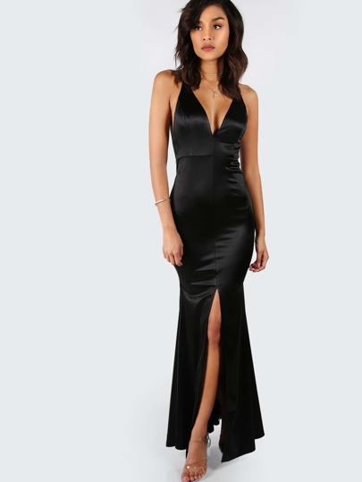 Cross Back Satin Slit Maxi Gown BLACK