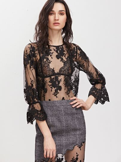 Black Bell Cuff 3/4 Sleeve Embroidered Mesh Top