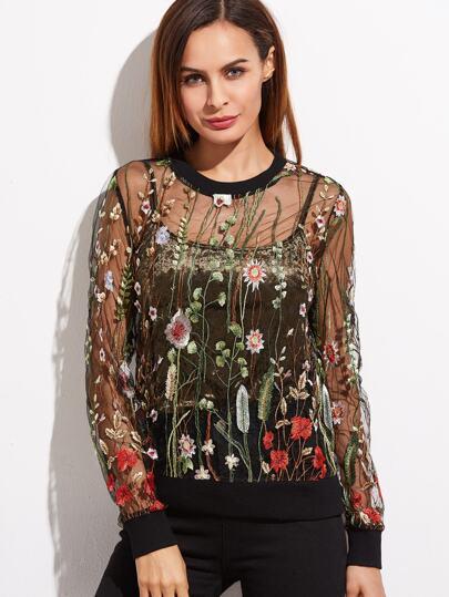 Sweat-shirt organza brodé botanique -noir