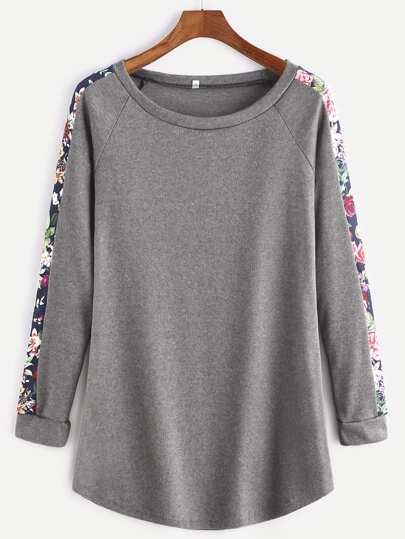 Dark Grey Florals Raglan Sleeve T-shirt