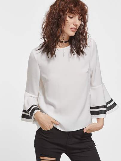 White Striped Bell Sleeve Keyhole Back Blouse