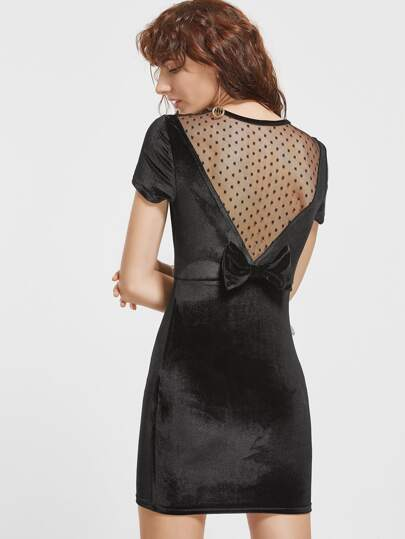 Black Dotted Mesh Insert Bow Back Velvet Dress