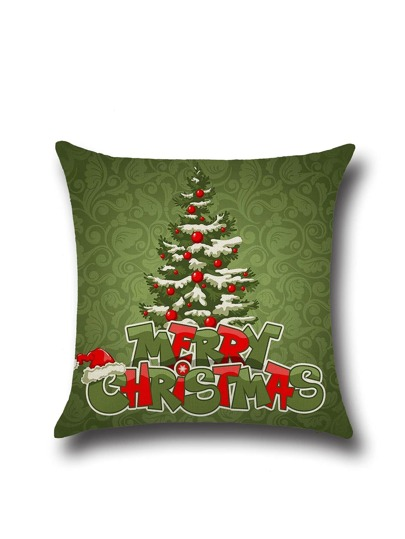 Olive Green Christmas Tree Cartoon Pillowcase Cover