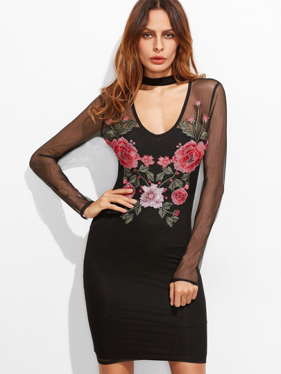 Black Cutout Choker Neck Embroidered Mesh Overlay Bodycon Dress