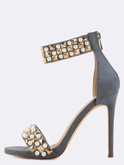 Pearl Trim Suede Studded Heels GREY