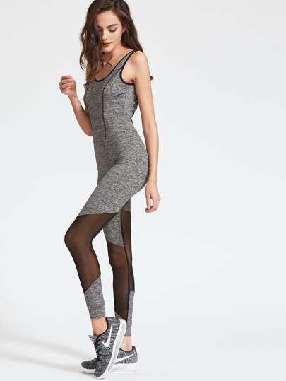 Marled Knit Contrast Binding Mesh Insert Unitard Jumpsuit