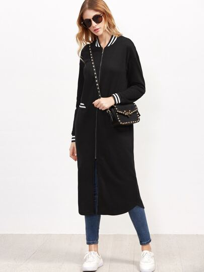 Black Striped Trim Zip Up Longline Baseball Coat