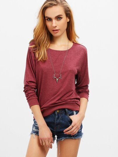 Burgundy Round Neck Loose T-Shirt