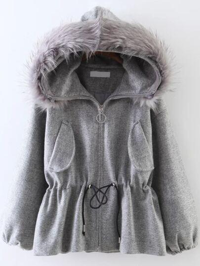 Grey Drawstring Waist Faux Fur Hooded Coat