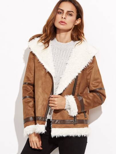 Camel Contrast Panel Faux Shearling Asymmetric Zip Jacket