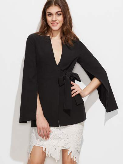 Black Split Sleeve Bow Detail Wrap Blazer