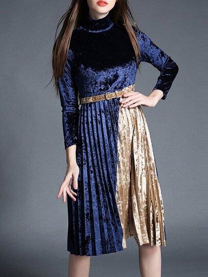 Blau Kontrast Gelb Gürtel gefaltet Samtkleid