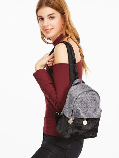 Black Contrast External Pocket Velvet Backpack