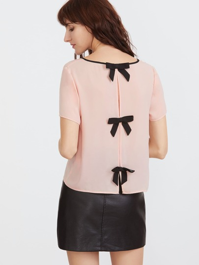 Contrast Binding V Neck Split Bow Back Top