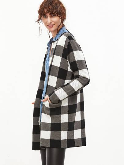 Black And White Checkered Open Front Cardigan