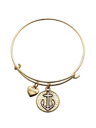 Gold Heart And Anchor Charm Metal Bracelet