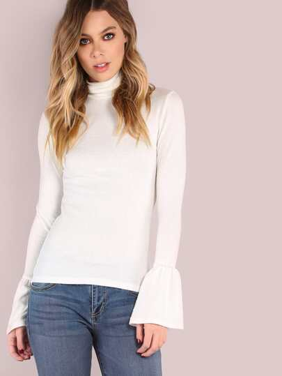 Turtleneck Bell Sleeved Top OFF WHITE