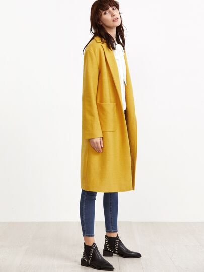 Yellow Notch Collar Pocket Front Wool Blended Coat