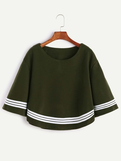 Army Green Bell Sleeve Striped Trim Blouse