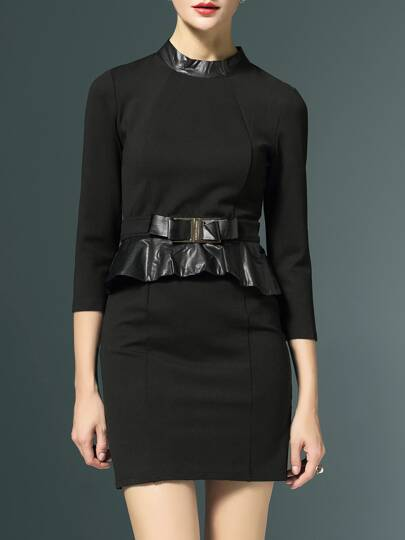 Black Contrast Pu Peplum Sheath Dress