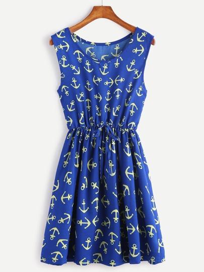 Vestido con estampado de ancla cintura con cordón - azul oscuro