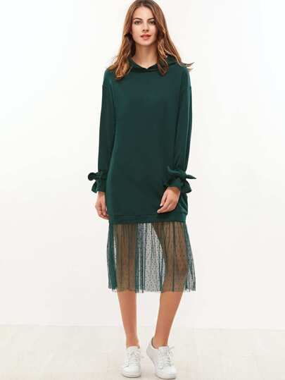 Green Belted Cuff Dotted Mesh Trim Hoodie Dress