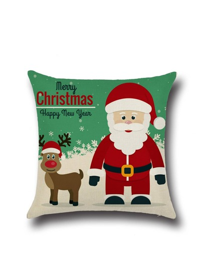 Merry Christmas Cartoon Graffiti Linen Square Pillowcase Cover
