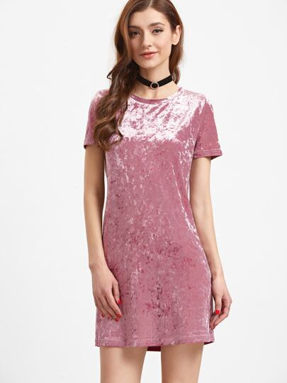 Pink Short Sleeve Velvet Dress