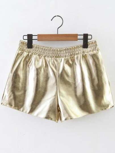 Pantalones cortos de PU con cintura elástica - dorado