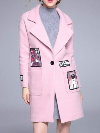 Pink Lapel Applique Pouf Pockets Coat