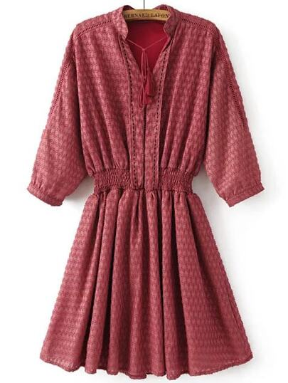 Red Tassel Tie Three Quarter Sleeve Elastic Waist Dress
