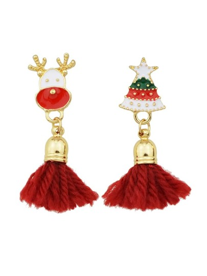 Red Color Christmas Tree Shape Tassel Earrings