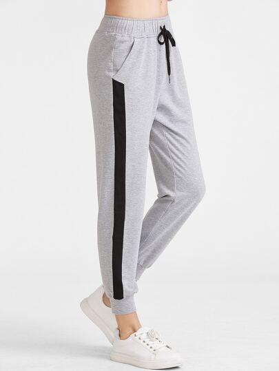 Heather Grey-Kontrast-Panel-Tunnelzug-Sweatpants