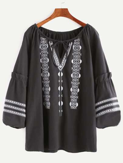 Black Tie Neck Embroidered Ruffle Blouse