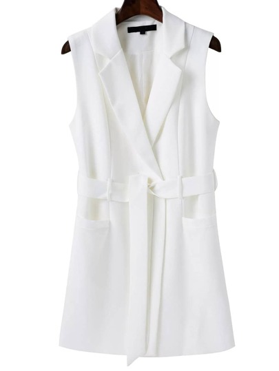 White Sleeveless Blazer With Belt