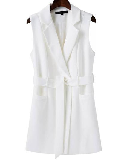 Blazer sin mangas con cinturón - blanco