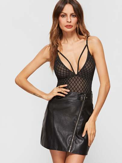 Black Strappy Deep V Neck Diamond Grid Mesh Cami Bodysuit